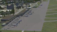 Aerial view of Fukuoka Airport.