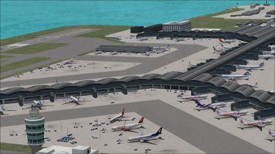 View of Hong Kong International Airport, China.