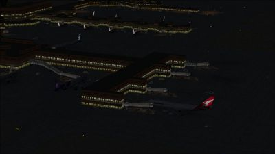 View of Melbourne International Airport at night.