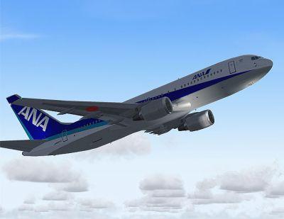 Screenshot of ANA Boeing 767-200 in flight.