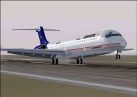 Screenshot of Aeropostal McDonnell Douglas MD-83 taking off from runway.