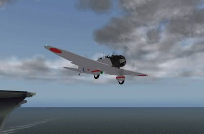 Screenshot of Aichi D3A1 taking off from a carrier.