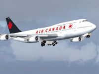 Screenshot of Air Canada Boeing 747-400 raising landing gear.