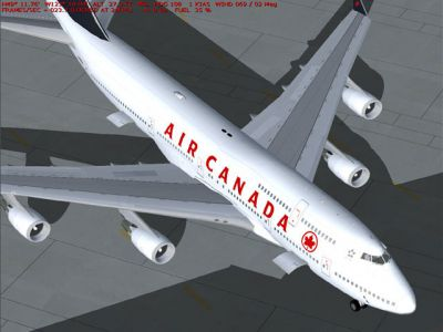 Screenshot of Air Canada Boeing 747-400 on the ground.