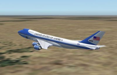 Screenshot of Air Force One Boeing 747-200 in flight.