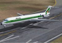 Screenshot of Alitalia McDonnell Douglas MD-83 taking off from runway.