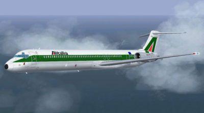 Screenshot of Alitalia McDonnell Douglas MD-83 in flight.