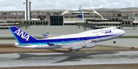 Screenshot of All Nippon Airways Boeing 747-400 taking off from runway.