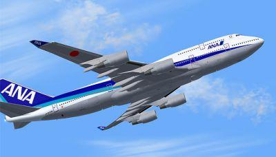 Screenshot of All Nippon Airways Boeing 747-400 in flight.