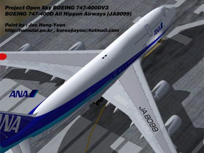 Screenshot of All Nippon Airways Boeing 747-400D on runway.