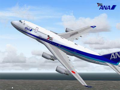 Screenshot of All Nippon Airways Boeing 747-400D in flight.