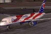 Screenshot of America West Boeing 757-200 on runway.
