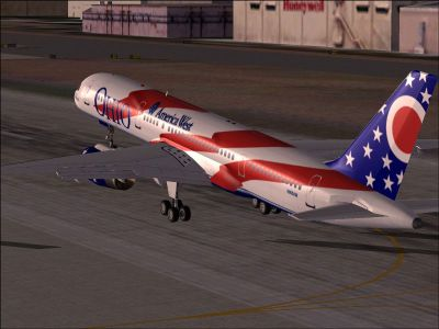 Screenshot of America West Boeing 757-200 taking off.