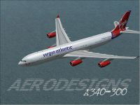Screenshot of Virgin Atlantic A340-300 in flight.