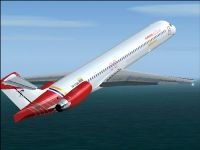 Screenshot of Aserca Airlines MD-83 in flight.