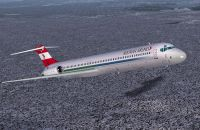 Screenshot of Austrian Airlines MD-82 in flight.