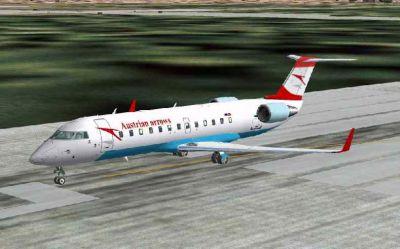 Screenshot of Austrian Arrow CRJ-200LR on runway.