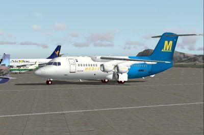 Screenshot of Avro RJ85 on the ground.