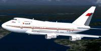 Screenshot of Bahrain Royal Flight Boeing 747SP in flight.