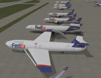 Screenshot of Boeing 848-F FedEX''s on the ground.