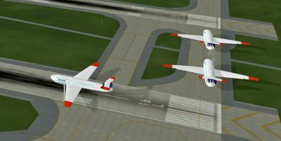 Screenshot of Boeing Quantas 848''s on the ground.