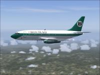 Screenshot of Bouraq Airlines Boeing 737-200 in flight.