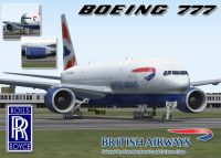 Screenshot of British Airways Boeing 777-236ER in flight.