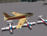 Screenshot of Canadair Sabre flying low.