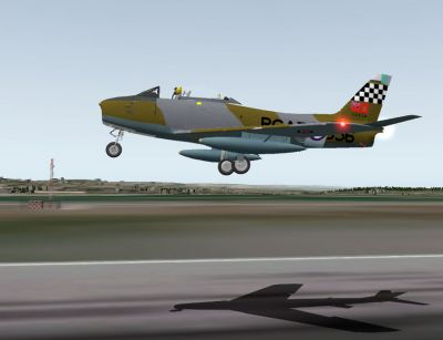 Screenshot of Canadair Sabre taking off.