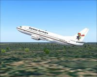 Screenshot of Cayman Airways Boeing 737-300 in flight.
