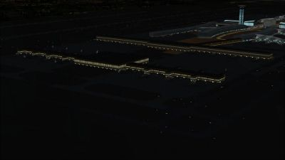 View of Charles-De-Gaulle International Airport at night.