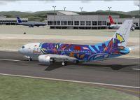 Screenshot of Citilink Boeing 737-300 on runway.