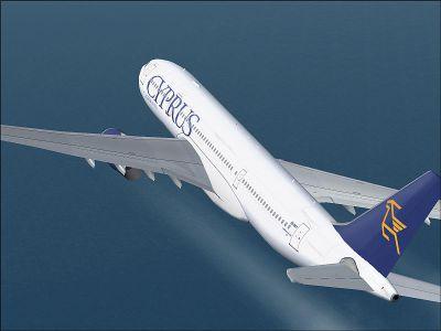 Screenshot of Cyprus Airways Airbus A330-200 in flight.