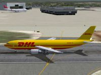 Screenshot of DHL Airbus A300-600 on the ground.