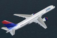 Screenshot of Delta Airlines Boeing 757-200 in flight.