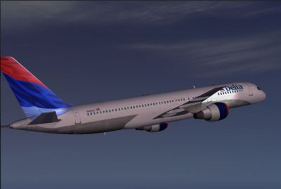 Screenshot of Delta Airlines Boeing 757-200 flying with lights.