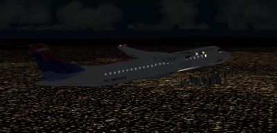 Screenshot of Delta Connection ATR 72-200 flying at night.