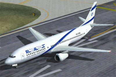 Screenshot of El Al Boeing 737-400 on runway.