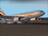 Screenshot of Emirates Airbus A330-200 landing on runway.