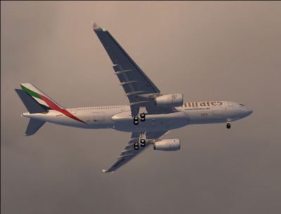Screenshot of Emirates Airbus A330-200 in flight.