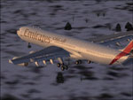 Screenshot of Emirates Airbus A340-300 in flight.