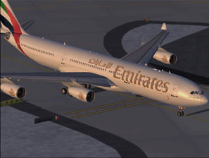 Screenshot of Emirates Airbus A340-300 on the ground.