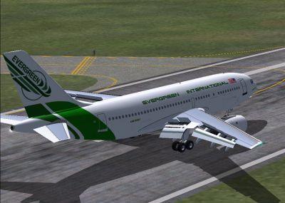 Screenshot of Evergreen Airbus A310-203 on runway.