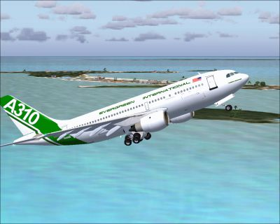 Screenshot of Evergreen Airbus A310 shortly after take-off.
