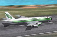 Screenshot of Evergreen Convair CV-990 on runway.