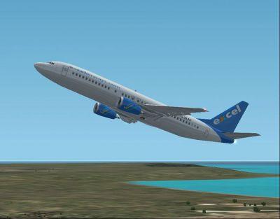 Screenshot of Excel Airways Boeing 737-402 in flight.