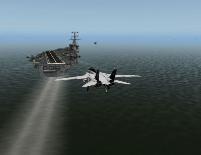 Screenshot of F14B Tomcat approaching carrier for landing.