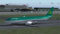 Screenshot of Aer Lingus A330-200 on runway.