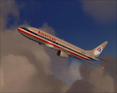 Screenshot of American Airlines Boeing 737-400 in flight.