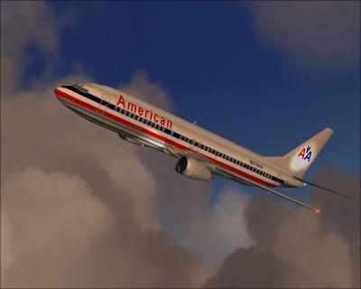 Screenshot of American Airlines Boeing 737-400 in flight.